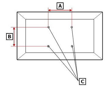 TV back panel with A, B, and C labels for width, height, and screw holes