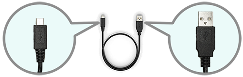 USB cable with narrow connector on one end and USB connector on the other end