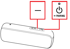 example location of the Volume - and PAIRING buttons on a speaker