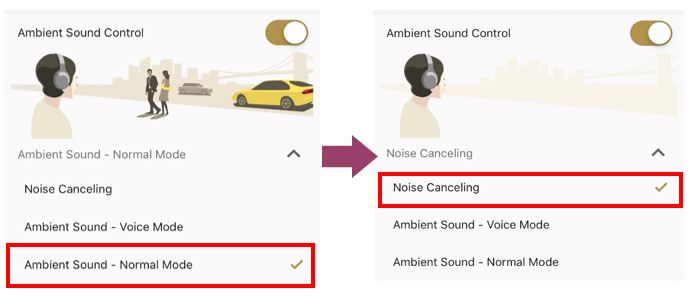 side by side diagram showing Ambient Sound on and then switching it to Noise Canceling function