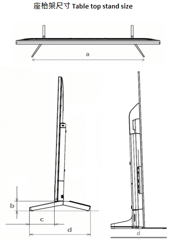 table top stand size