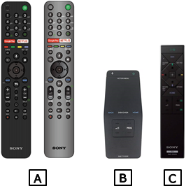 3 types of wireless remote control, A, B, C