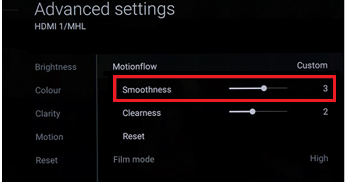 Advanced settings menu showing the Smoothness option with slide bar