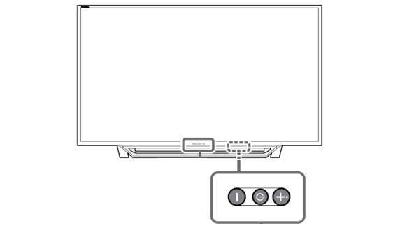 Power button position on 2014 through 2017 BRAVIA TV models