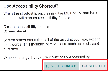 Accessibility Shortcut window image