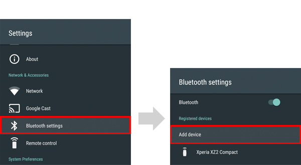Bluetooth settings screen