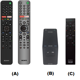 side by side illustration of wireless remote controls, a touchpad remote, and one-touch remote