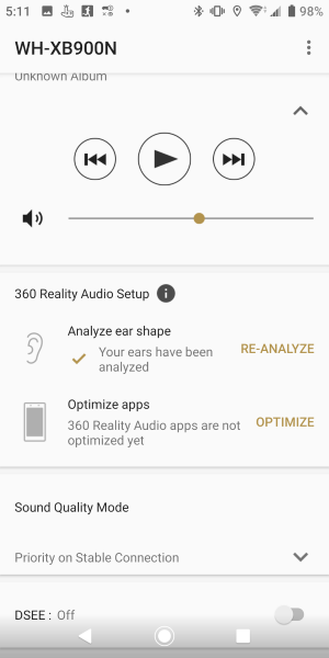 Screenshot of how to optimise apps using 360 Reality Audio Setup in the Headphones Connect app