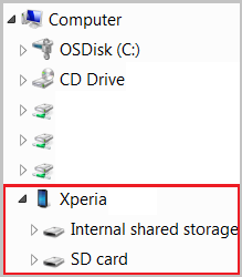 An image showing the Xperia device in Windows Explorer