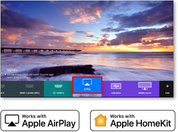 An image showing the Airplay icon on the TV