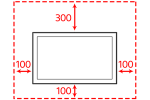 Figure of dimensions for the space needed to mount the TV. The space needed around the TV is 300mm above, 100mm at each side, and 100mm below.