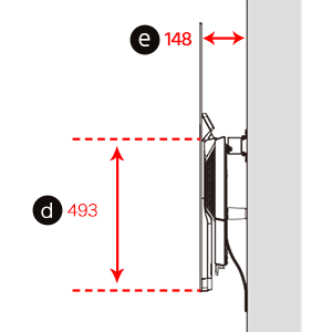 Figure of the side of the TV (d: length from the bottom edge of the TV to the base screw hole positions, e: depth when wall mounted)