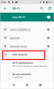 "screenshot showing location of ""Add network"" below the list of available networks"