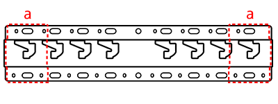 Image of the positions on the base where the base adapters will be attached (a: attachment positions of the base adapters)