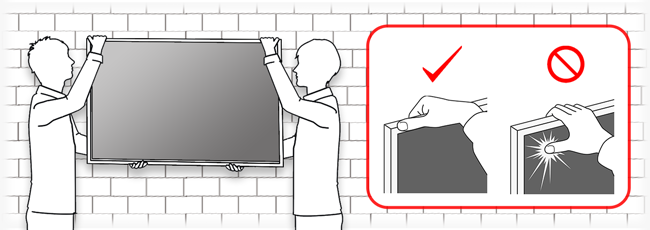 Image of carrying the panel. if you carry by the panel surface, the screen may crack