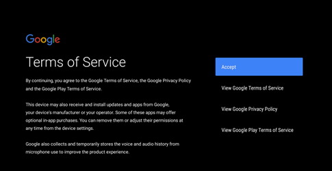 Terms of service screenshot