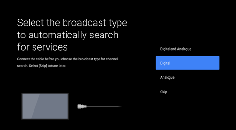 Select broadcast type screenshot