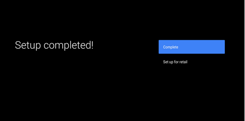 Setup completion screen