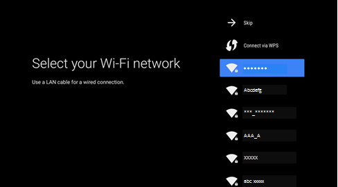 Select Wi-Fi network screenshot