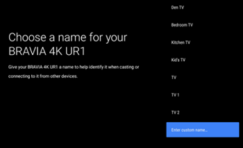 Choose a name for your TV