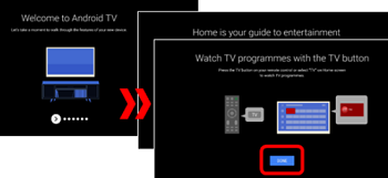 series of overlapping screenshots of the Welcome to Android TV, Home is your guide to entertainment, and Watch TV programs with the TV button introduction tutorial screens