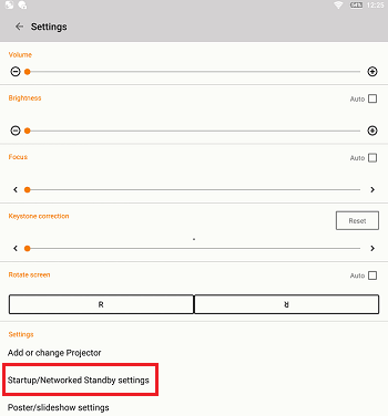 Startup/Networked Standby settings
