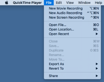nouvel enregistrement quicktime