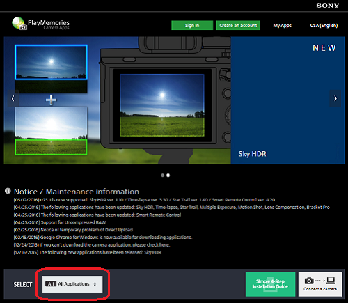 How to download and install applications from PlayMemories Camera