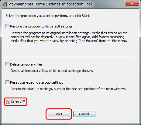 PlayMemories Home Settings Initialization Tool