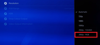 HDR automatic settings of PS4