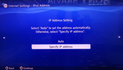Specify IP address
