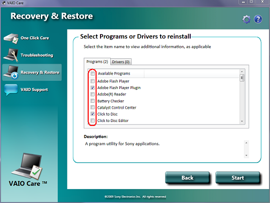 How to reinstall bundled applications or original drivers using the