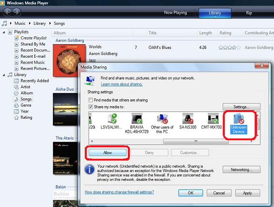 How to use the tablet to throw (send) media files from one