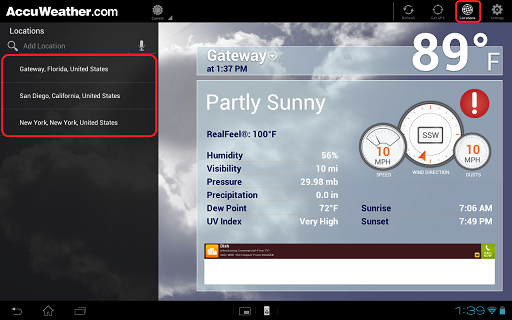How to remove (delete) a location from the AccuWeather application