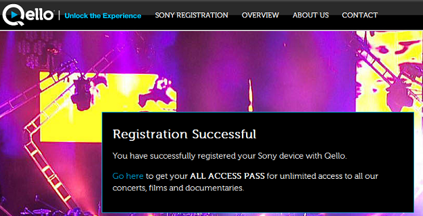 Registration completed screen