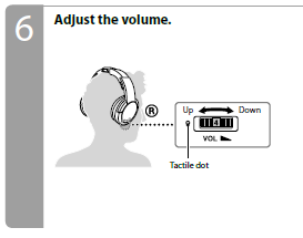 Volume up and down on the headphones