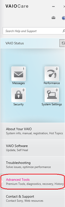How to run hardware diagnostics using the VAIO Care version 8