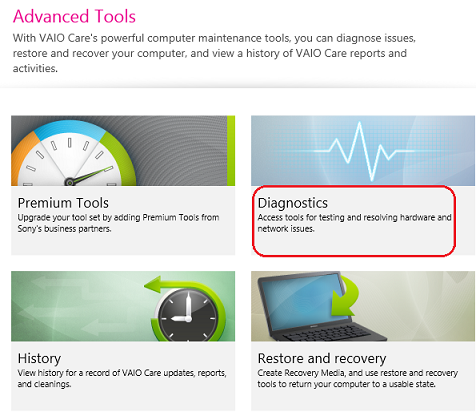How to run hardware diagnostics using the VAIO Care version