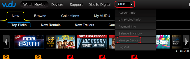 Vudu Manage devices