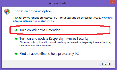 View anti virus options (Ver opciones de anti virus)