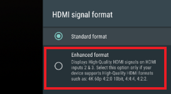 Select the HDMI input used