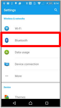 Bluetooth Settings of the Android Phone
