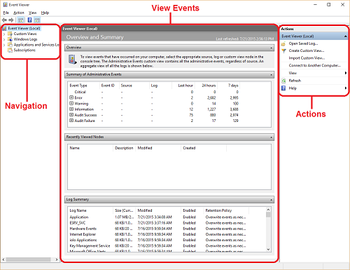 Event Viewer Sections