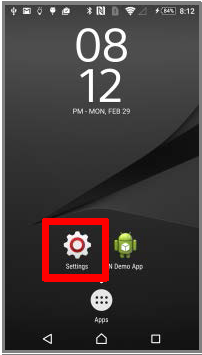 Settings of the Android mobile device