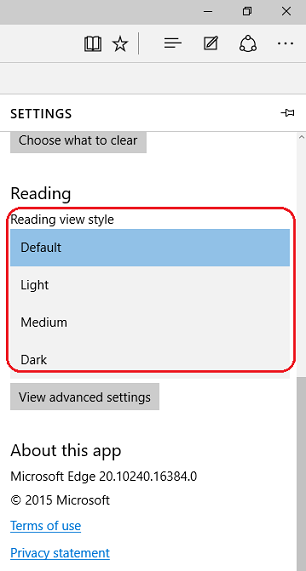Reading view style