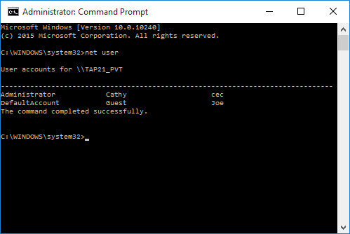 Administrator: Command Prompt  - net user