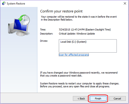 System Restore - Finish
