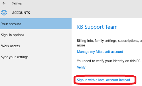 Sign in with a local account