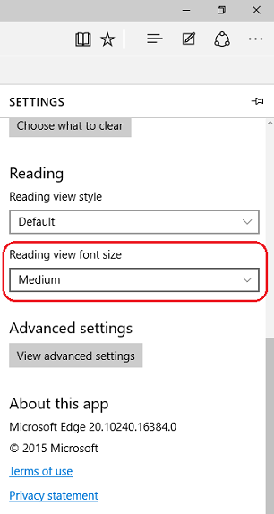 Reading view font size