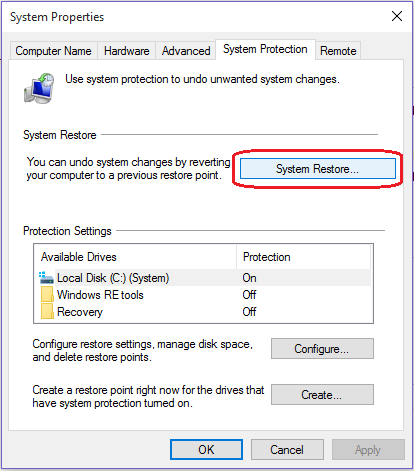 System Properties - System Restore